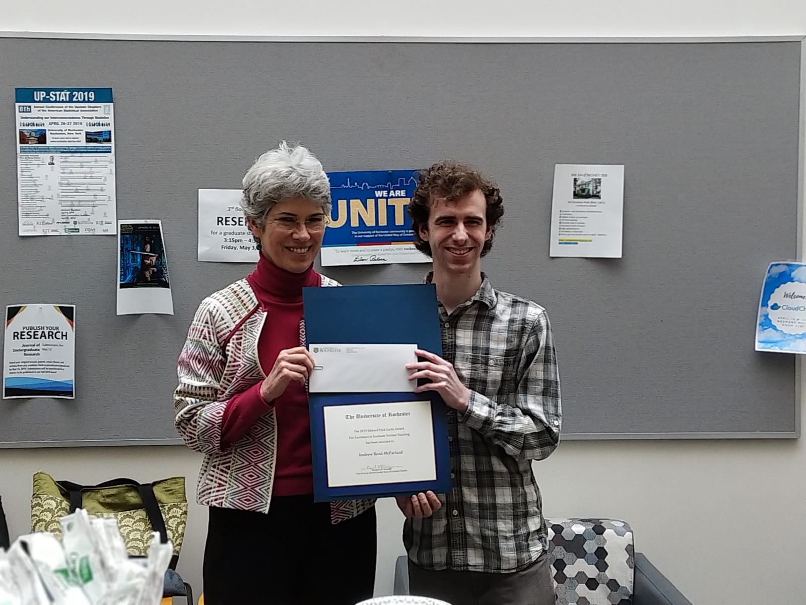 Photo of Dean Margaret Kearney and PhD student Andrew Read-McFarland