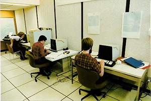 Students wokring in the Hylan computer lab.
