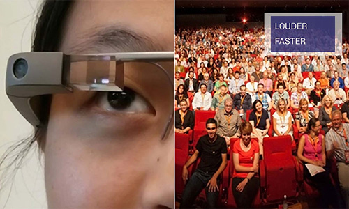 Close-up of Smart Glasses and Audience