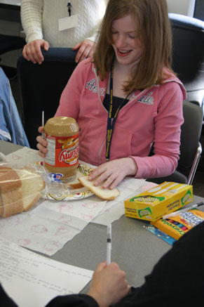 Making Peanut butter & jelly sandwiches