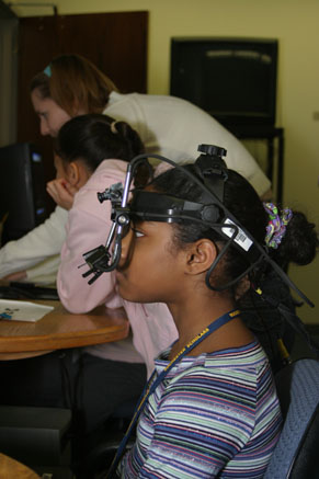 The girls try out the Virtual Reality Lab