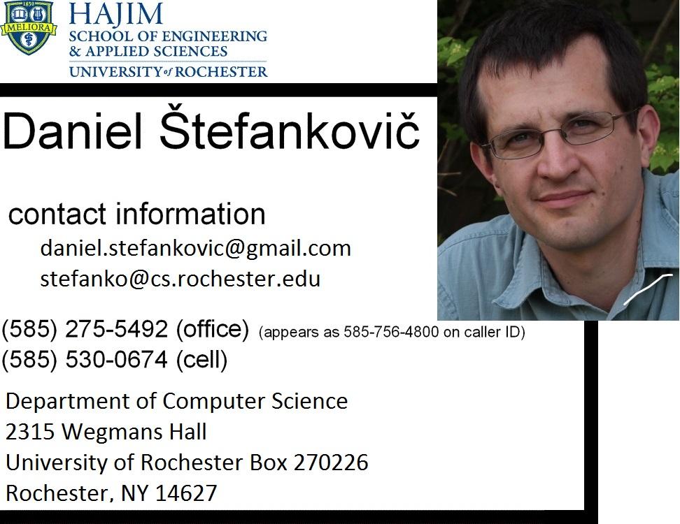 Daniel Stefankovic - University of Rochester